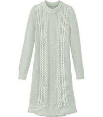 comfortabele gebreide jurk met opvallend kabelpatroon, bleekgroen 36/38