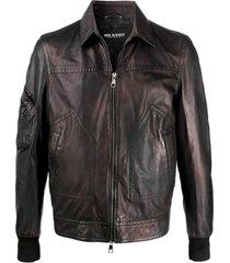 neil barrett jaqueta biker com efeito desbotado - marrom