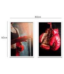 quadro duo 60x80cm boxe esportetreino luva moldura branca c/vidro oppen house