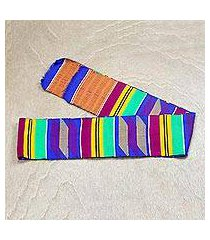 rayon and cotton blend kente scarf, 'vibrant africa' (ghana)