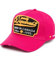 dsquared2 embroidered-design six-panel cap - pink