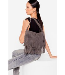 womens want faux suede a promise fringe crossbody bag - grey