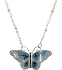 2028 women's silver tone blue and black enamel butterfly necklace