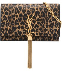 saint laurent kate leopard print shoulder bag - neutrals