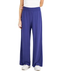 bar iii solid pull-on wide-leg pants, created for macy's