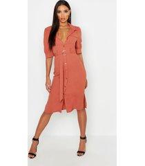 midi utility blouse jurk met pofmouwen, rose
