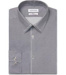 calvin klein men's slim fit non-iron stretch performance steel gray dress shirt