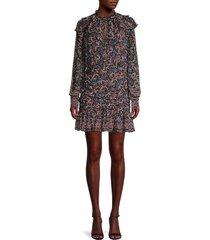 veronica beard women's jaylene paisley-print silk mini dress - black multi - size 4