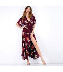 vestido de gasa floral de manga corta con cuello en v para mujer -rojo