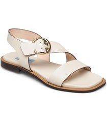 plain square buckle flat shoes summer shoes flat sandals creme apair