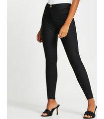 river island womens black coated high waisted skinny jeans