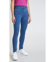 calça jeans feminina sawary skinny clochard levanta bumbum cintura alta azul escuro