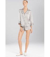 key 3/4 sleeve pajamas / sleepwear / loungewear, women's, silver, 100% silk, size xs, josie natori