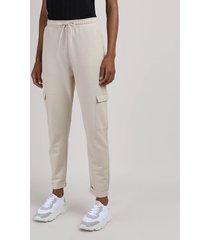 calça de moletom feminina cargo cintura alta cinza mescla