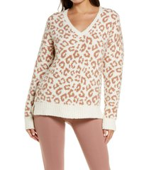 women's ugg cecilia v-neck sweater, size large - brown