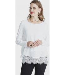blusa manga larga con ruedo encaje blanco lorenzo di pontti