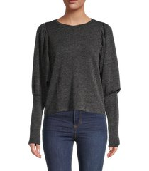 rd style women's bishop-sleeve top - ash - size xs