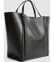 reiss allegra croc - embossed leather tote bag in black, womens