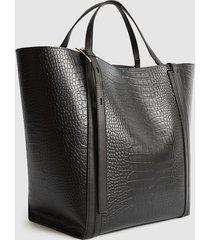 reiss allegra croc - embossed leather tote bag in black, womens