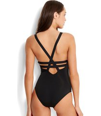 black active deep v one-piece swimsuit