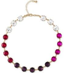 "rachel rachel roy gold-tone crystal & multicolor stone collar necklace, 16-1/2"" + 2"" extender"