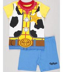 pijama infantil carnaval woody toy story manga curta amarelo