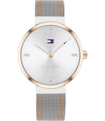 tommy hilfiger women's two-tone stainless steel mesh bracelet watch 35mm