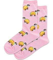 hot sox women's taco terrier novelty crew socks