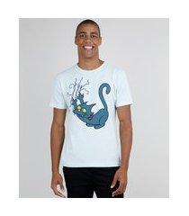 camiseta masculina bola de neve os simpsons manga curta gola careca azul claro