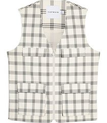 mens cream ecru check vest