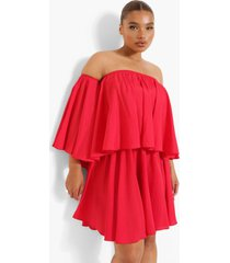 plus peplum jurk met open schouders en ruches, red