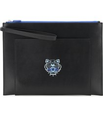 kenzo large leather pouch tiger