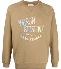 maison kitsuné logo print sweatshirt - neutrals