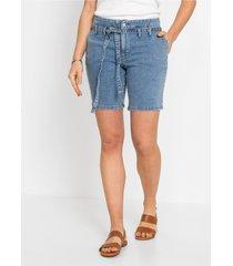 jeans short met strikceintuur van biologisch katoen