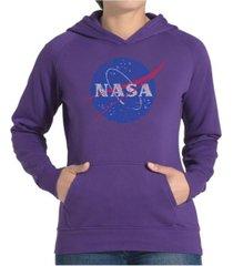 la pop art women's word art hooded sweatshirt -nasa's most notable missions