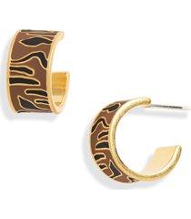 women's madewell tiger stripe enamel huggie hoop earrings