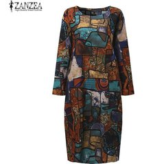 zanzea otoño mujer vintage midi dress manga larga cuello redondo bolsillos estampado geométrico casual suelto robe vestidos (azul) -azul