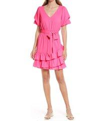 women's lilly pulitzer martha stretch tie waist dress, size 4 - pink