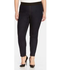 plus size women's karen kane dark rinse denim leggings, size 0x - blue