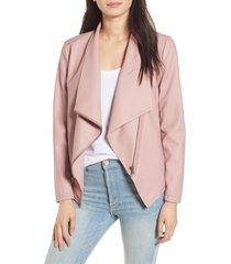 women's bb dakota gabrielle faux leather asymmetrical jacket, size large - pink