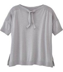 pullover met korte mouw, siernaden en ribbelmouwen, zilvergrijs 40/42