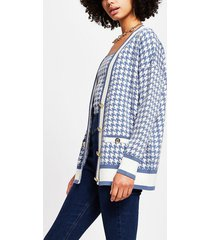 river island womens blue dogtooth gold button cardigan