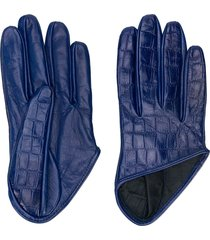 manokhi embossed crocodile effect gloves - blue