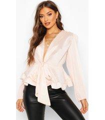 geweven gekreukelde blouse met ceintuur, blush