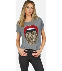 capri leopard tongue - xl heather grey
