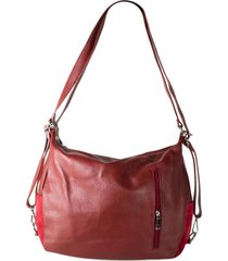 cartera mochila cuero rojo mailea