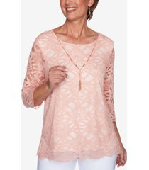 alfred dunner petite springtime in paris solid lace & detachable necklace