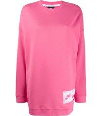nike nsw fleece sweater dress - pink