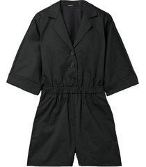 short-sleeve button-front waist tie romper