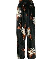a.n.g.e.l.o. vintage cult 1970's plush effect floral trousers - black
